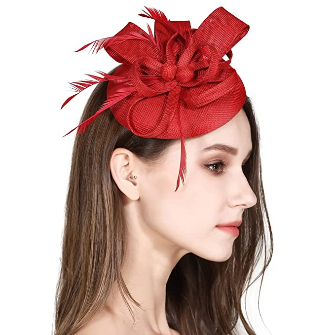 b9959551c7e7 Fascinator Feather Fascinators for Women Pillbox Hat for Wedding ...