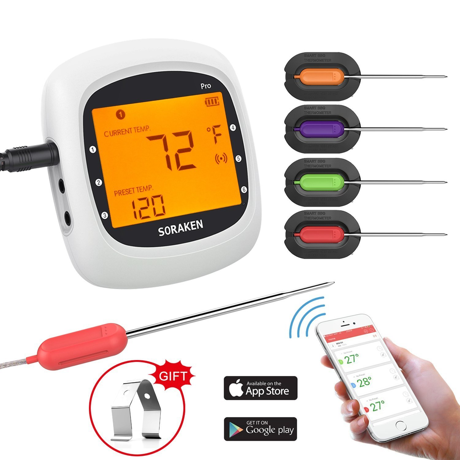 Wireless Meat Thermometer for Grilling, Bluetooth Meat Thermometer Digital BBQ Cooking Thermometer with 4 Probes, Alarm Monitor Cooking Thermometer for Barbecue Oven Kitchen, Support IOS & Android by Soraken