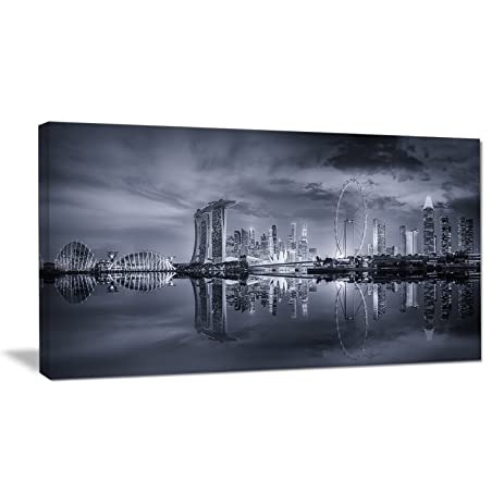 Design art black and white singapore skyline cityscape canvas print