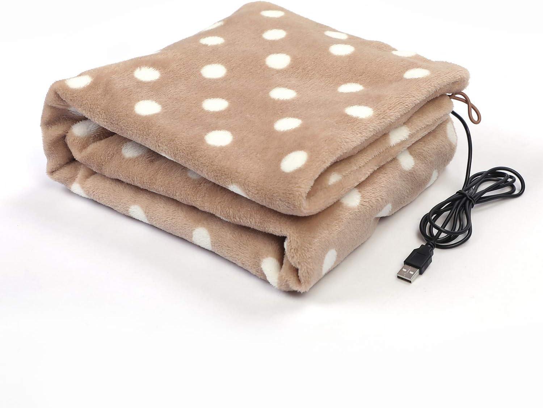 ALNAE 電気ブランケット USBブランケット 87x45cm 水玉柄 電気毛布 肩掛け ひざ掛け 腰掛け 暖房 洗濯可能