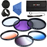 K&F Concept 67mm Kit de Filtres (UV/CPL/FLD/Bleu/Orange/Gris ND4) Filtre protection UV Filtre Polarisant Filtre Gris Neutre Filtres Couleur Progressifs pour Appareil Photo