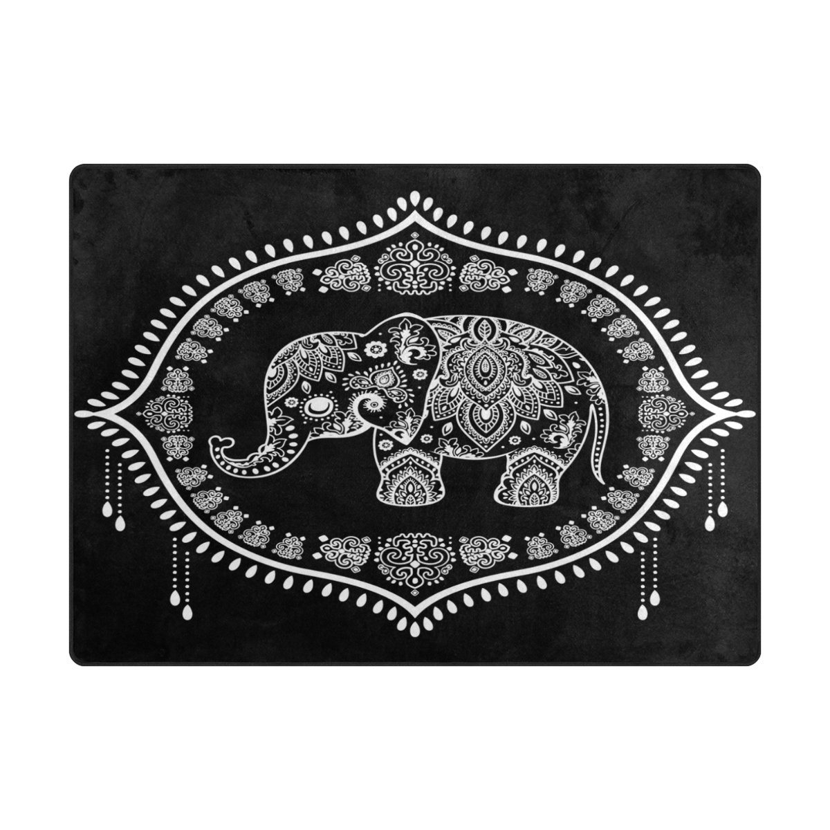 945f6b6178fa Amazon.com: ALAZA Indian Elephant Lotus Flower Ethnic Black Area Rug ...