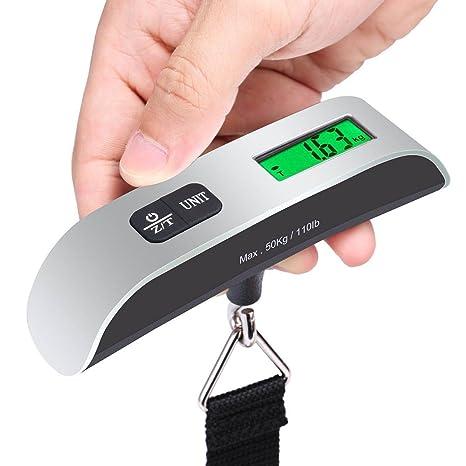 THEE Báscula Digital 50KG para Equipaje Maletas LCD Ergonómica Viaje Báscula