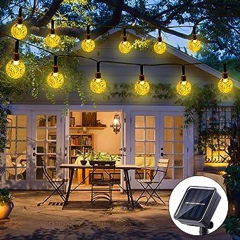 Qedertek Guirnaldas Luces Exterior Solar, Cadena de Bola Cristal Luz para Exterior, 6M 30