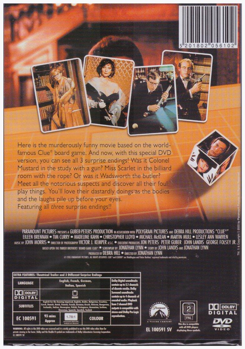 Clue [Uk Region] [DVD]: Amazon.es: Eileen Brennan, Tim Curry, Madeline Kahn, Jonathan Lynn: Cine y Series TV