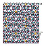 Liguo88 Custom Waterproof Bathroom Shower Curtain Polyester Arabian Decor Geometric Lines and Stars Based on Traditional Oriental Eastern Islamic Artistic World Past Decor Multi Decorative bathroo