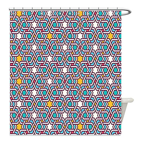 Liguo88 Custom Waterproof Bathroom Shower Curtain Polyester Arabian Decor Geometric Lines and Stars Based on Traditional Oriental Eastern Islamic Artistic World Past Decor Multi Decorative bathroo by liguo88
