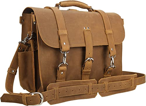 Polare Men's Full Grain Leather 16 Laptop Briefcase Shoulder Messenger Bag