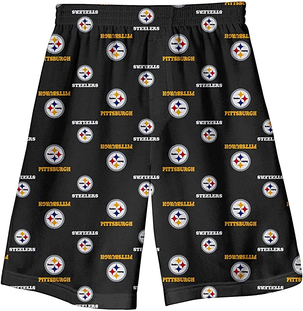 Outerstuff Pittsburgh Steelers Youth Printed All Over Black Pajama Shorts