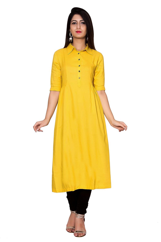 Metro Fashion Collared Neck Solid Anarkali Tunic Top Rayon Buttoned Kurti.