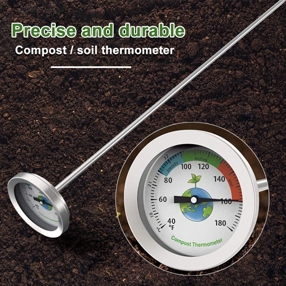 YDBET El compostaje termómetro portátil Suelo del jardín del Suelo Detector de Física Herramientas de Acero Inoxidable de fácil Lectura de Medida con la sonda de luz dial