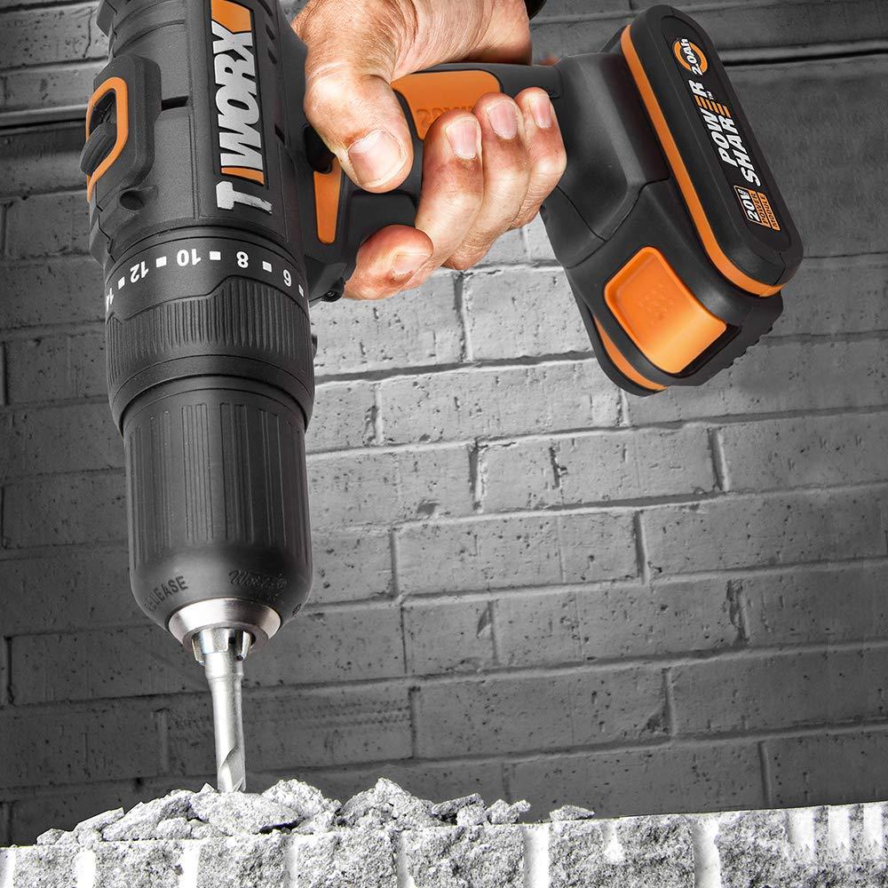 WORX 20V Akku-Schlagbohrschrauber WX371 Bohrschrauber Schlagbohrer Koffer Powershare 2 G/änge 18+1+1 Drehmomentstufen 13mm Bohrfutter 2,0Ah
