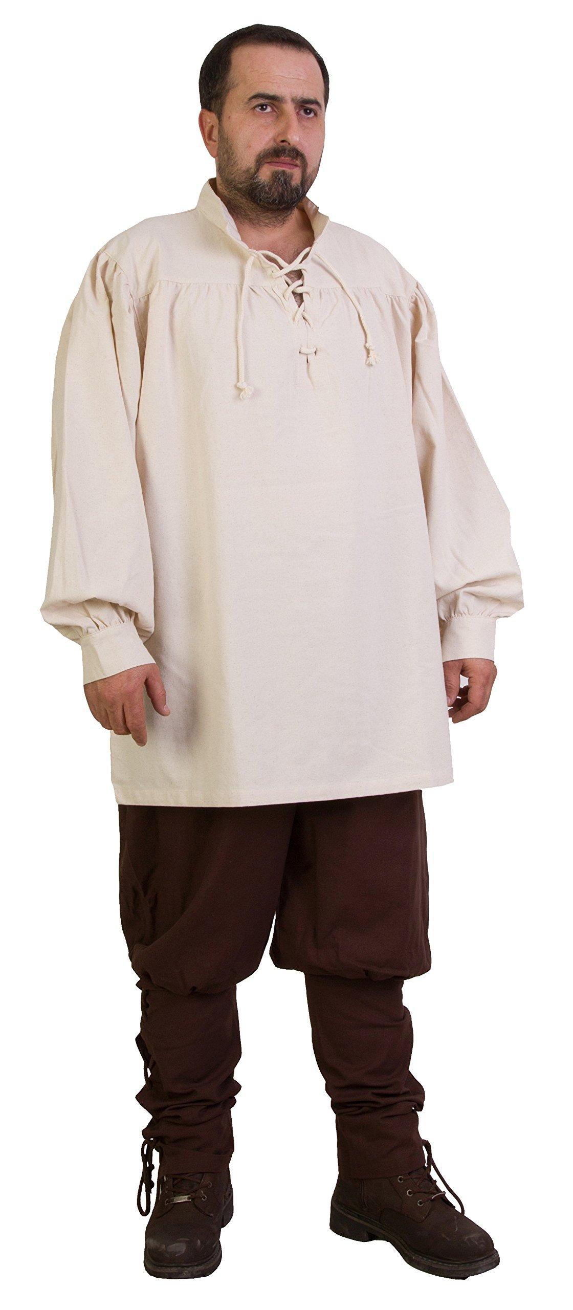 byCalvina - Calvina Costumes ERMES Medieval Viking LARP Pirate Cotton Man Shirt - Made in Turkey-Nat-2XL by byCalvina - Calvina Costumes (Image #3)