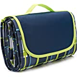 "80×60""Family Picnic Blanket with Tote, Extra Large Foldable and Waterproof Camping Mat for Outdoor Beach Hiking Grass Travel NaturalRays"