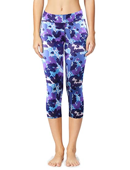 9f86efeaaa01a Baleaf Women's Printed Yoga Capri Workout Leggings Tummy Control Pants  Hidden Pocket Floral Purple Size XS