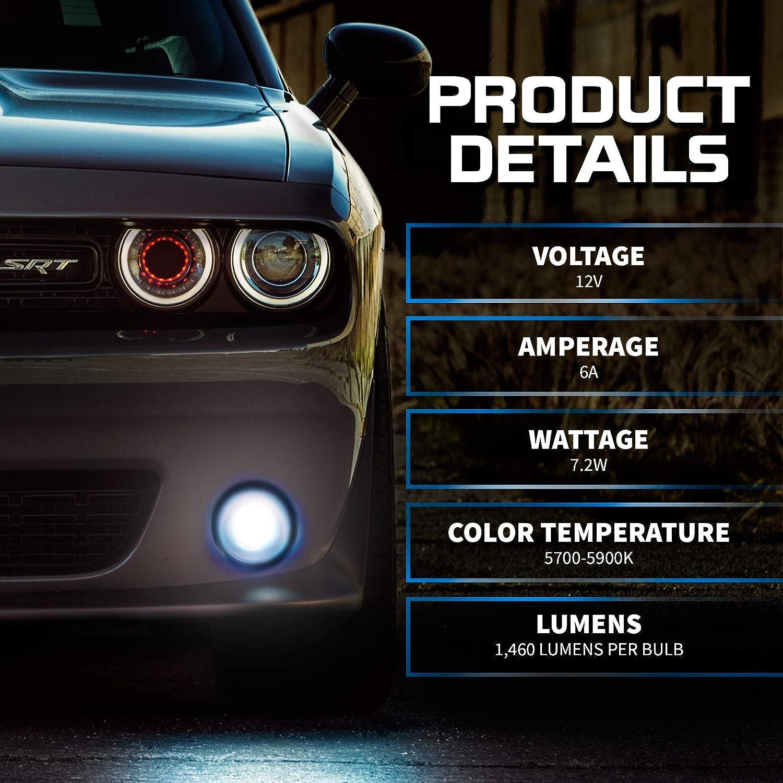 Pack of 2 6000K Lighting White @ 1,400 Lm per Bulb Free Warranty OPT7 5202 2504 Ultra Glow LED Fog Light Bulbs