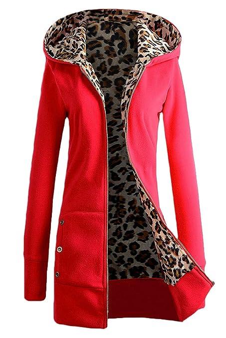 ZHRUI Sudadera con Cremallera para Mujer Invierno Casual Talla Grande Algodón Leopardo Sudaderas (Color :