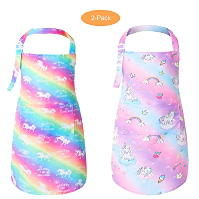 Pashop 2 Pack Kids Unicorn Bib Apron with Pocket Child Adjustable Rainbow Chef Apron Kitchen Aprons Children Artists Aprons for Cooking Baking Painting: Toys & Games
