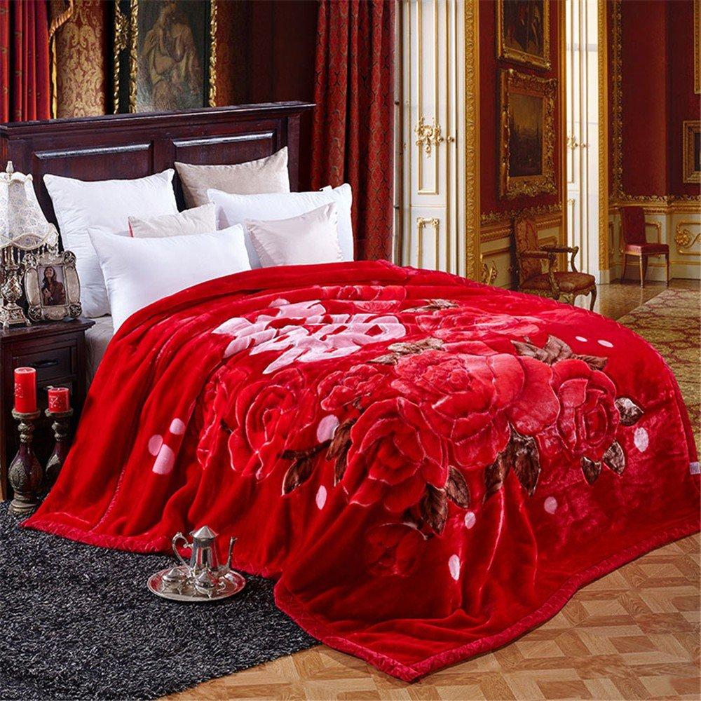 Double-Layer Thicker Winter Korallen samt Hochzeit Student Doppel Sofa Raschel Leisure Blanket,200x230cm 9
