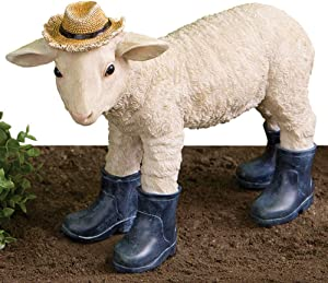 Bits and Pieces - Lamb in Boots Sculpture - Polyresin Home or Garden Decorative Animal Statue