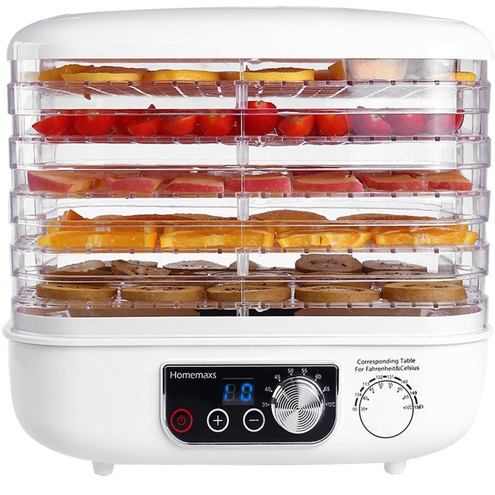 Food Dehydrator, HOMEMAXS Digital Dehydrator Machine with LED Display Timer, Professional Food Dryer for Making Beef and Meet Jerky, Fruit Leather, Vegetables Dryer, 5 Removable Trays BPA-Free