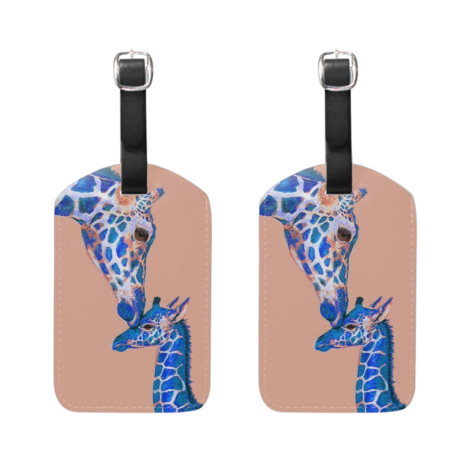 Fair Dragon Luggage Tag Travel ID Label Leather for Baggage Suitcase 2 Piece