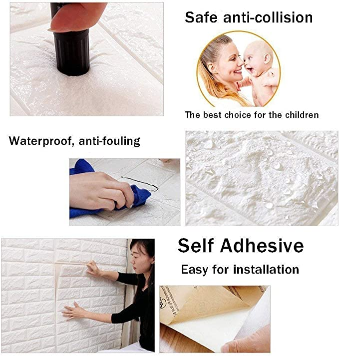 77cm x 69cm 30.3 x 27.1 PE Foam Self-Adhesive Wallpaper Peel and Stick 3D Art Wall Panels for Living Room Bedroom Background Wall Decoration,White 10PCS 3D Brick Wall Stickers