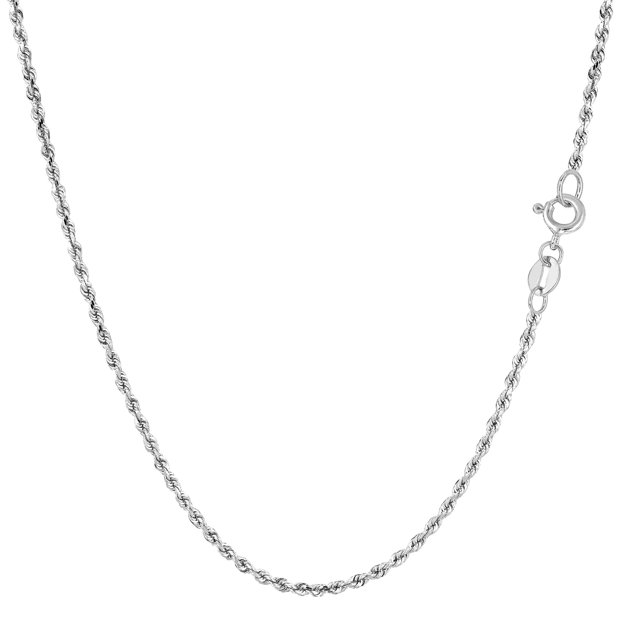 14k White Solid Gold Diamond Cut Rope Chain Necklace, 1.25mm, 18''