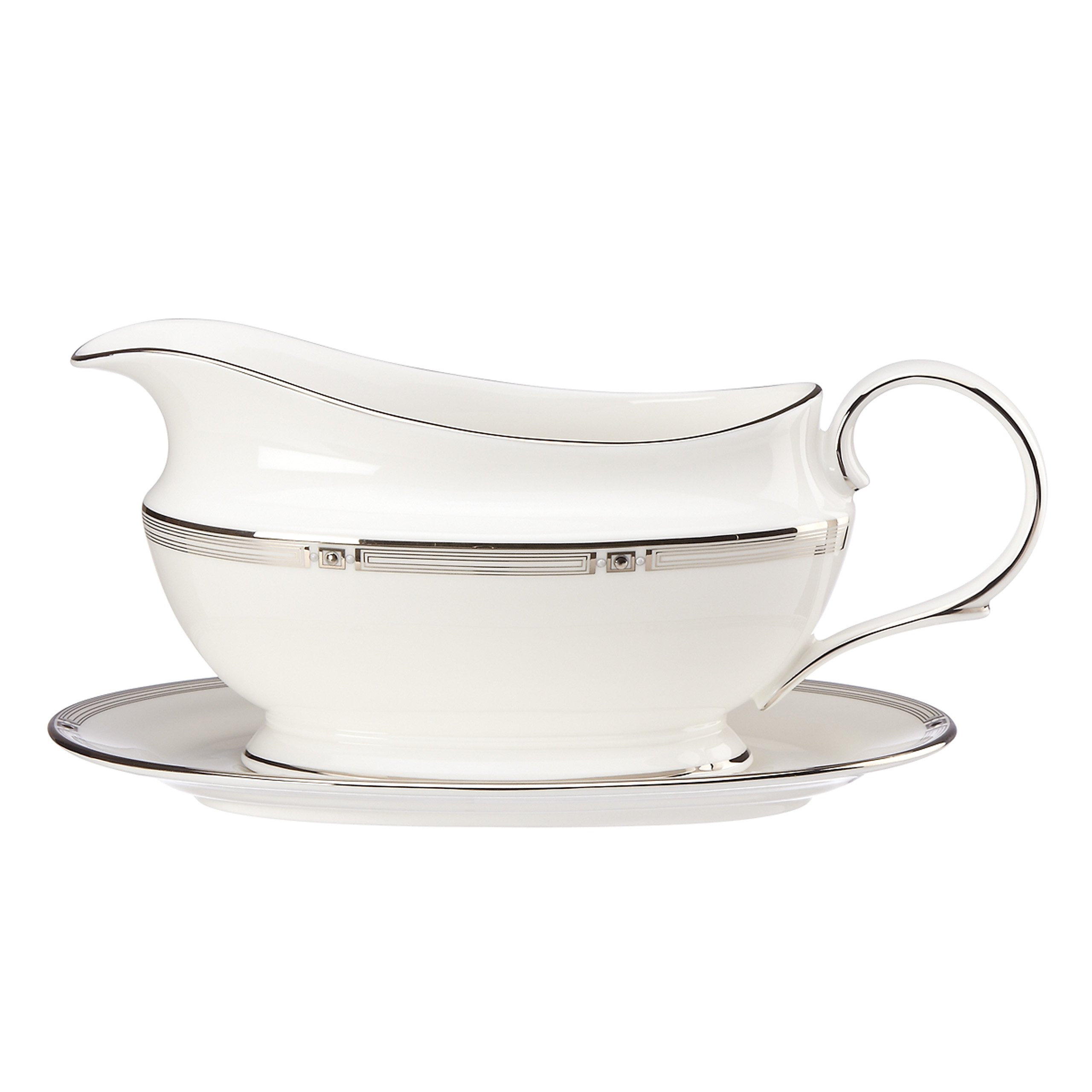 Lenox Westerly Platinum Sauce Boat and Stand, White by Lenox