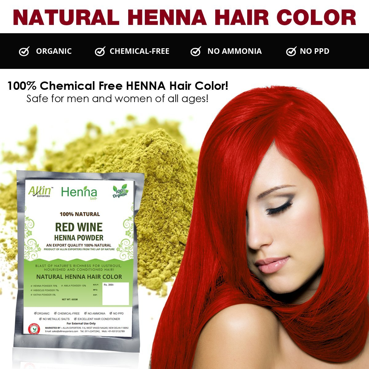 Amazon.com : Allin Exporters Black Henna Hair Color - 100% Organic ...