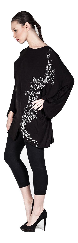 Designer Damen Tunika verziert mit Steinen, Oberteil Langarm Freizeit/Casual  aus Merzerisation - Plus Size auch Übergrößen (56): Amazon.de: Bekleidung