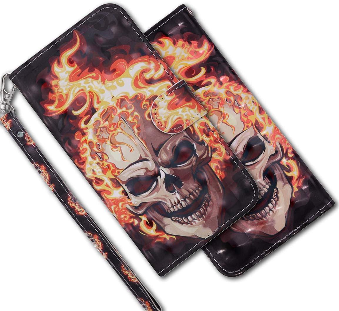 MRSTER Funda para Xiaomi Redmi 5 Plus, 3D Brillos Carcasa Libro Flip Case Antigolpes Cartera PU Cuero Funda con Soporte para Xiaomi Redmi 5 Plus. RX 3D Flame Skull