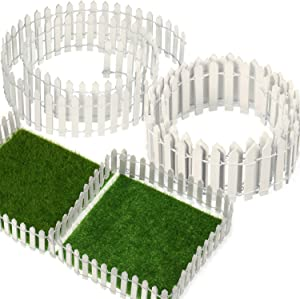 BBTO 40 Inch Length White Miniature Fairy Garden Fence and 6 x 6 Inch Artificial Garden Grass, 5 Pack Wooden Picket Fence Border Bonsai Fairy Garden Decoration Ornament