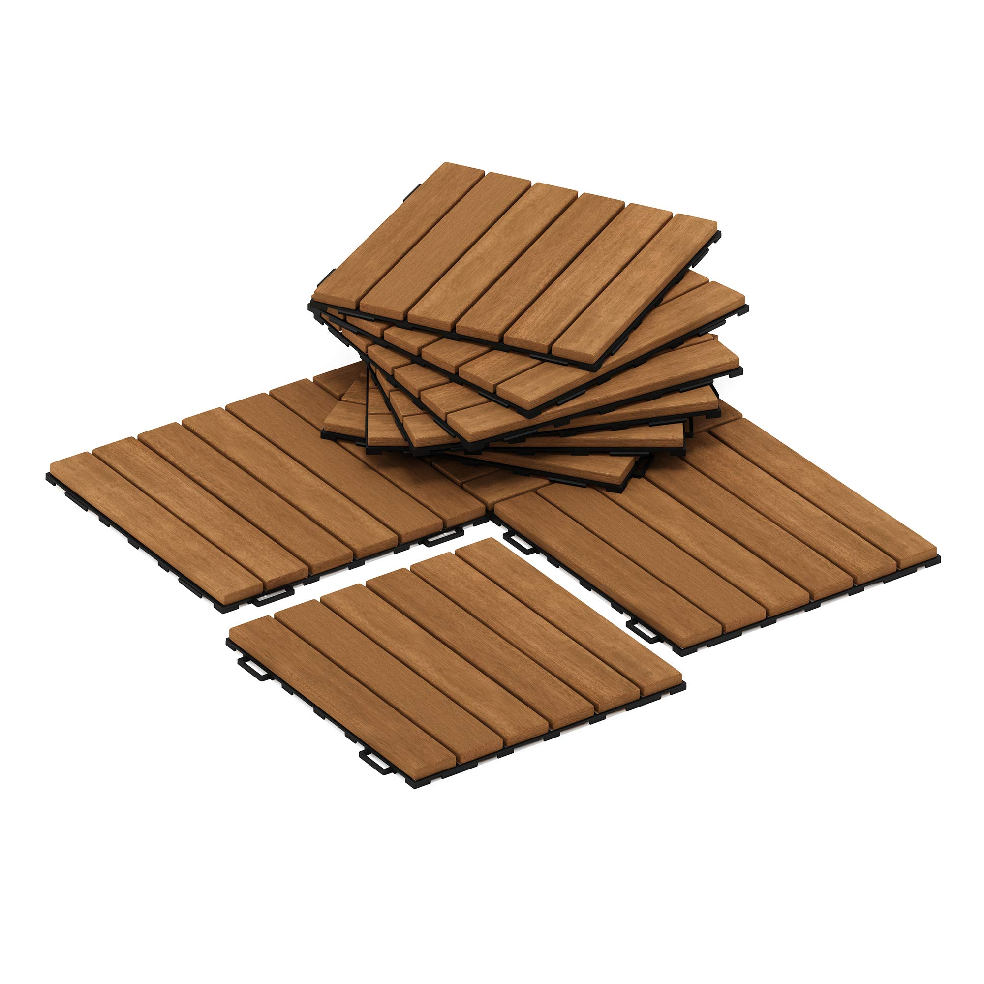 Furinno FG181034 Tioman Hardwood Patio Furniture Floor Decking Wood Tile, Natural