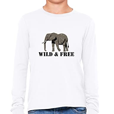 5c7614c76 Image Unavailable. Image not available for. Color  Hollywood Thread Elephant  Wild   Free - Save The Elephants Boy s Long Sleeve T-Shirt