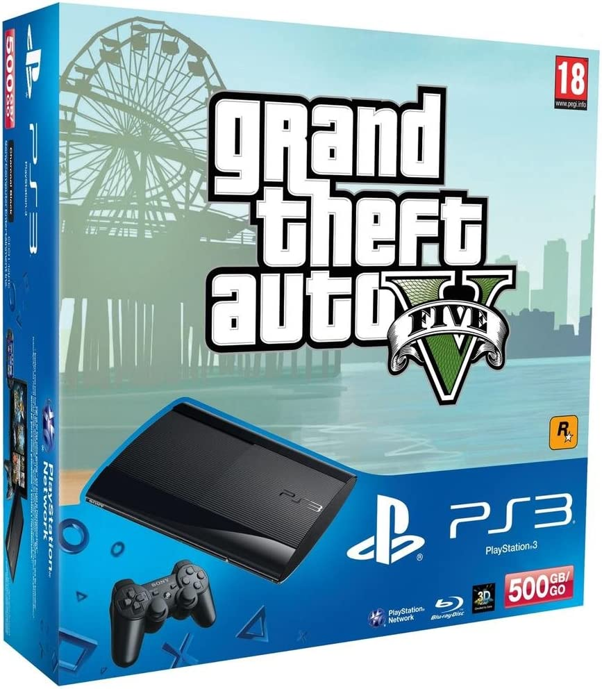 Sony Playstation 3 500GB + GTA 5 Negro Wifi - Videoconsolas (PlayStation 3, Negro, 256 MB, XDR, IBM Cell Broadband Engine, RSX): Amazon.es: Videojuegos
