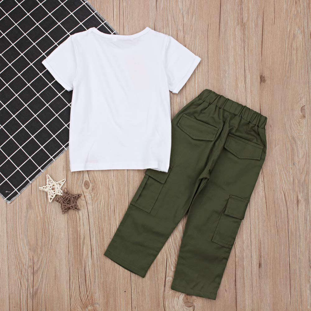Toddler boy Short Sleeve tee Shirt and Pants Clothing Set White and Green