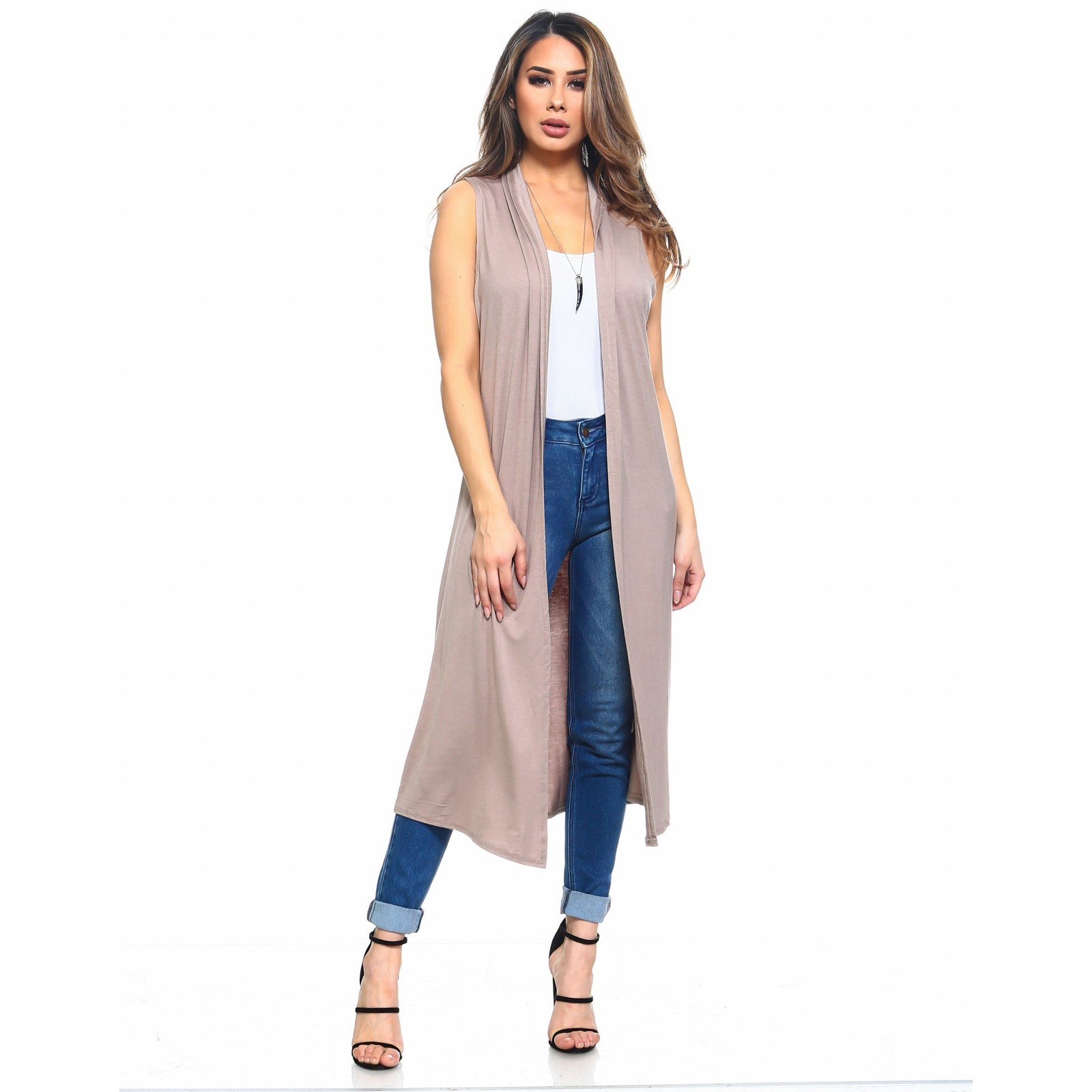 Isaac Liev Women's Long Open Front Cardigan Vest with Pockets and Side Slit (Large, Mocha)