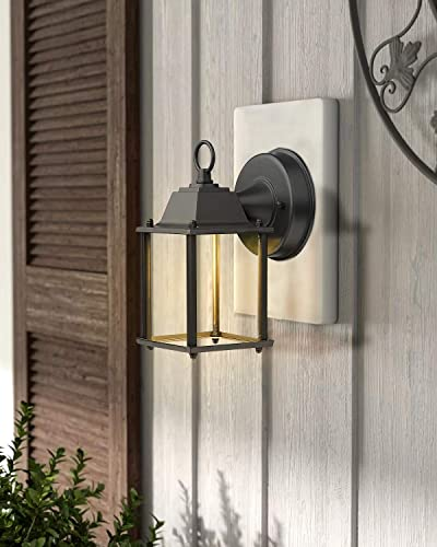 FEMILA Outdoor Wall Sconce, 2 Pack LED Exterior Wall Lantern, 3000K Wall Light Fixture, Die-Casting Aluminum Housing, Black Finish with Clear Glass Shade, 4FW05B-2PK BK