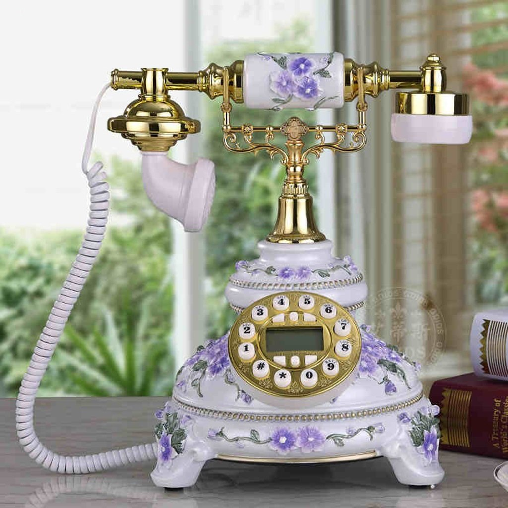 Wired Telephone Garden Home Decoration Telephone Answering Machine Villa Living Room Vintage Telephone Office Desk Desk Setting Answering Machine(Resin, 252328CM) (Color : Purple) by LCM