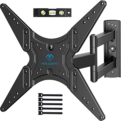 PERLESMITH TV Wall Mount for Most 26-55 Inch Flat Curved TVs with Swivels, Tilts Extends 19.5 Inch – Wall Mount TV Bracket VESA 400×400 Fits LED, LCD, OLED, 4K TVs Up to 88 lbs