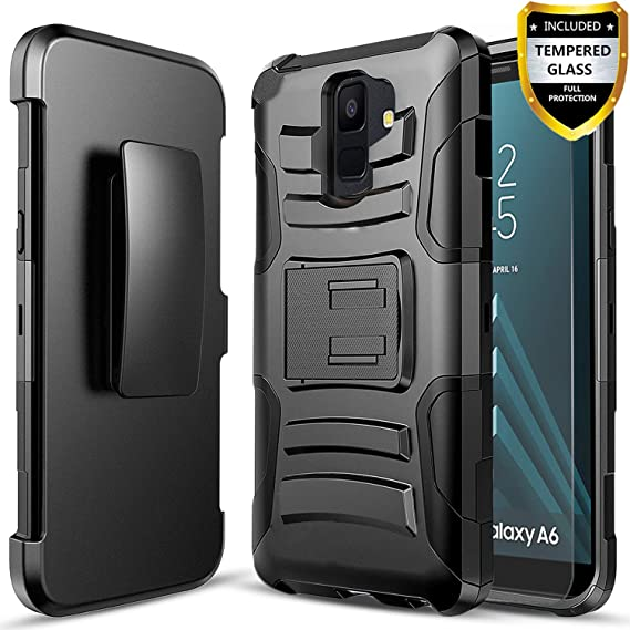 buy popular ef0d9 f4164 Galaxy A6 Case, With [Tempered Glass Screen Protector], Circlemalls Heavy  Duty [Combo Holster]Rugged Belt Clip Phone Cover With Built-in Kickstand  And ...
