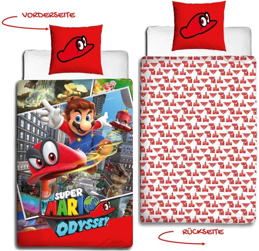 Nintendo adolescente de cama de franela en · cama infantil para niñas y niños · Super Mario Odyssey Reversible Diseño · almohada 80 x 80 + Funda Nórdica 135 x 200 cm – 100% algodón: Amazon.es: Hogar