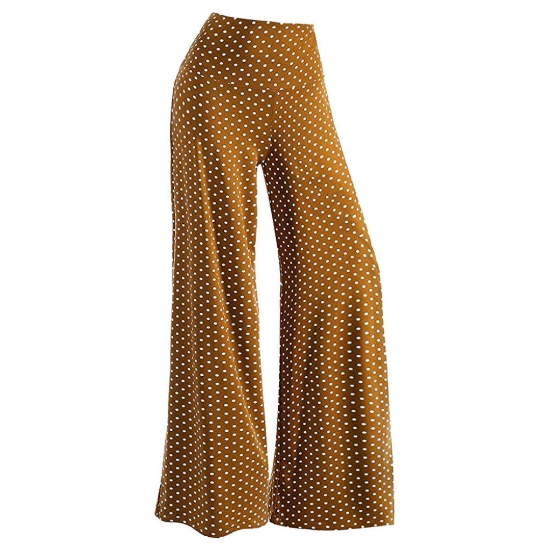 Women's Casual Dots Stretchy Wide Leg Palazzo Pants Muranba