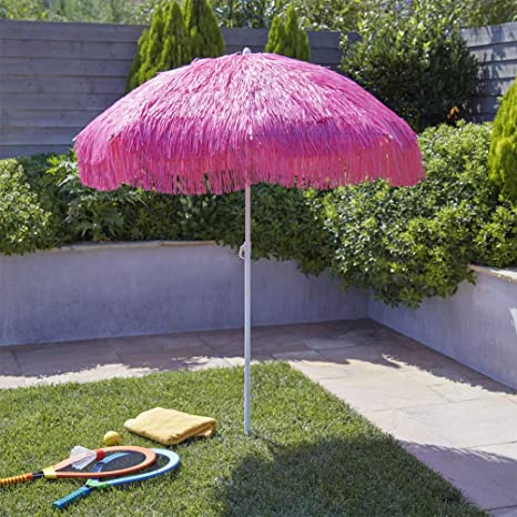 Delicieux Amazon.com : Bayside21 6ft Hula Thatched Tiki Umbrella Patio Hawaiian Style  Sand Anchor Beach Umbrella Pink Color (6ft, Pink) : Garden U0026 Outdoor