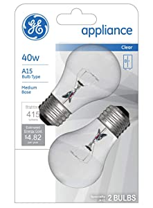 GE Appliance Clear Light Bulb 40w, A15 Bulb Type, Medium Base | 415 Lumens | 2-Count per Pack (1-Pack)