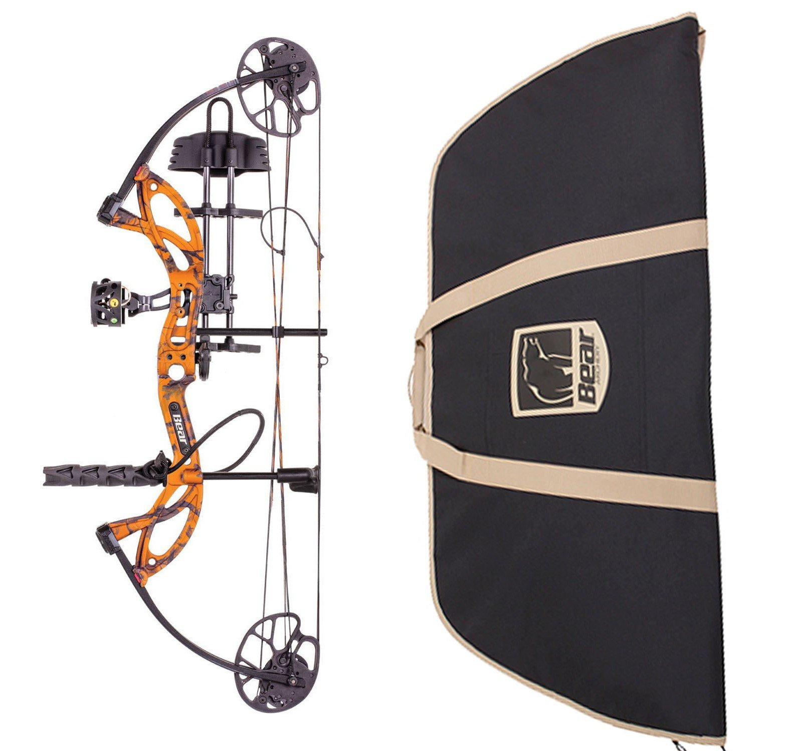 Bear Archery Cruzer G2 Compound Bow RTH Package and Soft Bow Case, Orange, Right Hand, 5-70#