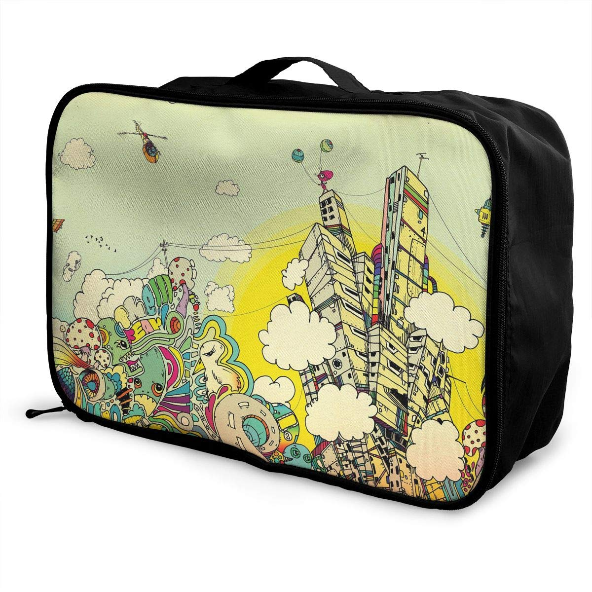 Travel Luggage Duffle Bag Lightweight Portable Handbag Abstract City Large Capacity Waterproof Foldable Storage Tote