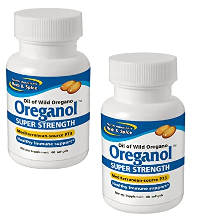 North American Herb and Spice Co., Oreganol Super Strength Oil of Wild Oregano, 60 Softgels per bottle Pack of 2