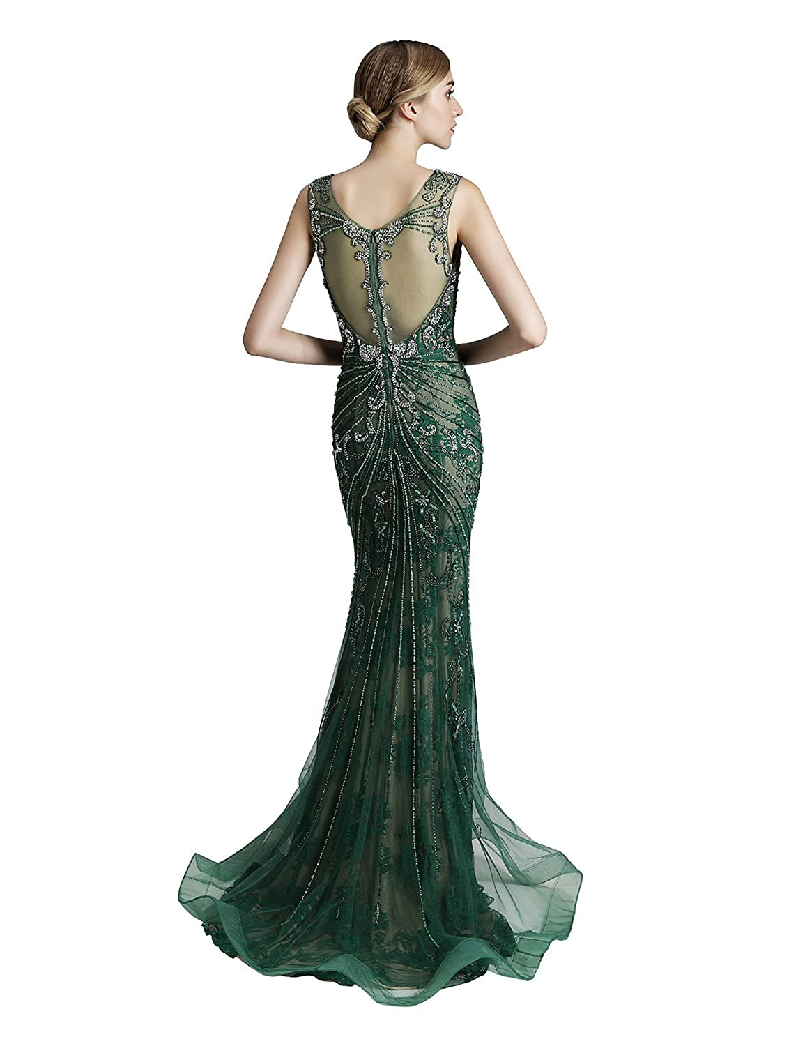 Belle House Womens Long Formal Dresses with Beads Luxury Prom Ball Gown Evening Dress